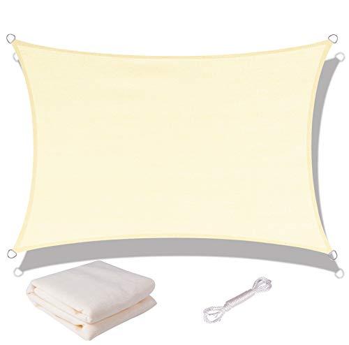 SUNNY GUARD Toldo Vela de Sombra Rectangular 3x3m HDPE Transpirable protección UV para Patio, Exteriores, Jardín, Color Crema