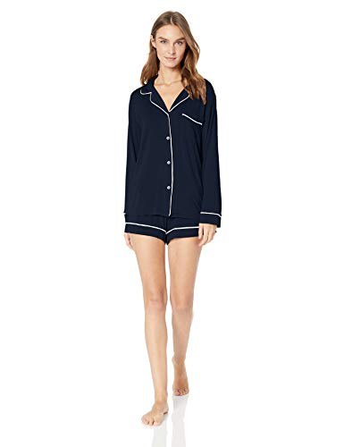 Eberjey Gisele Classic Women's Pajama Set   Long Sleeve Shirt + Shorts Navy/Ivory