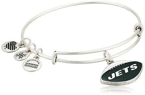 Alex and Ani Women's Color Infusion New York Jets Football II EWB Bracelet, Rafaelian Silver, Expandable