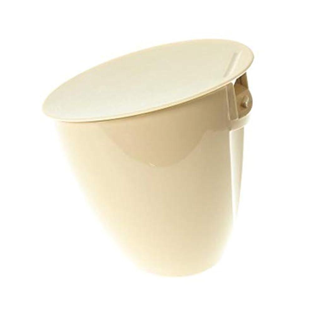 HBOS Desktop Mini Trash Can Tabletop Bevel Trash Bin Waste Basket with Swing Lid for Office Living Room Kitchen Bedroom, Beige