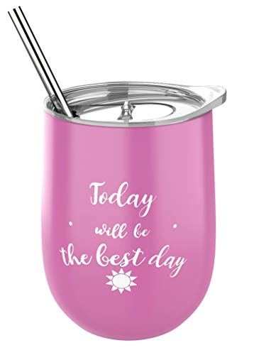 "Veramorest 12 oz Stainless Steel Tumbler with ""Today Will Be the Best Day"" Message - Water, Coffee, Tea and Wine Stemless Drinking Glass - Includes Lid, Stainless Straw and Brush"