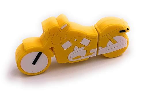 Onlineworld2013 Moto Bicicleta Amarilla Divertida Memoria USB 16GB USB 2.0
