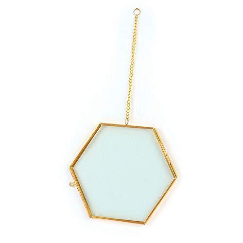 Cadre herbier Hexagonal en métal à suspendre - 13 x 18 cm