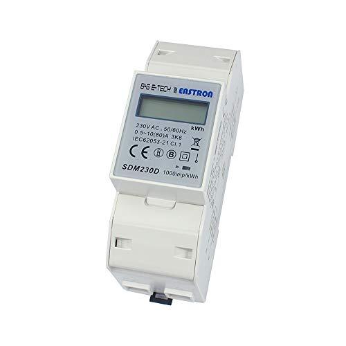 B+G E-Tech SDM230D - 1 Phasen Wechselstromzähler Stromzähler für DIN Hutschiene mit LCD Anzeige