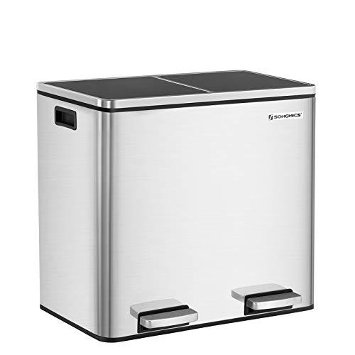 SONGMICS Mülleimer 48 L, Mülltrennung, Mülltrennsystem mit 2 Inneneimern, Treteimer für die Küche, aus Edelstahl, 2 x 24 L, silbern LTB48NL