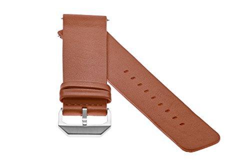 slow - Braunes Lederband mit silbernem Verschluss - 20mm Breite