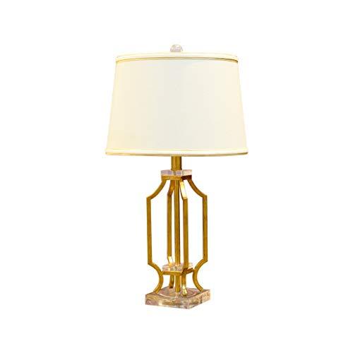 Lámpara de Mesa Lámpara de mesa de hierro forjado decorativa creativa, pantalla hecha a mano de tela blanca, elegante y elegante Lámpara de Cabecera (Color : Remote control switch)