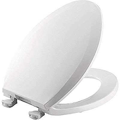 BEMIS 1100EC 000 Toilet Seat with Easy Clean & Change Hinges, ELONGATED, Plastic, White