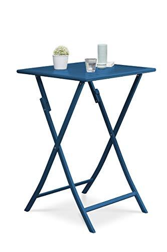 DCB GARDEN Table Marius, Aluminium, Bleu, 70X70
