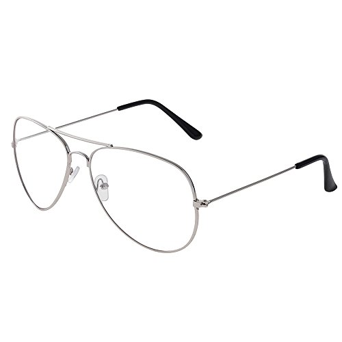 Forepin® Occhiali in Metallo Retrò aviatore Occhiali Decorativo con Lenti Trasparenti per Uomo Donna (Argenteo)
