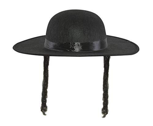 Woollen Hat - Imitation Rabbi Jacob - Black With Hair
