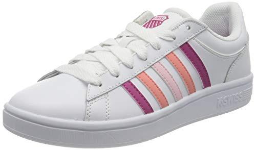 K-Swiss Damen Court Winston Sneaker, White/CACTSFLWR/SHLPK, 40 EU