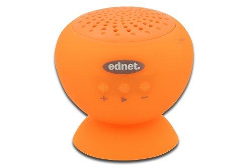 ednet 33013 Bluetooth Lautsprecher mit Saugnapf Bluetooth 4.0 Mini Speaker (2 Watt, Sprachsteuerung), orange