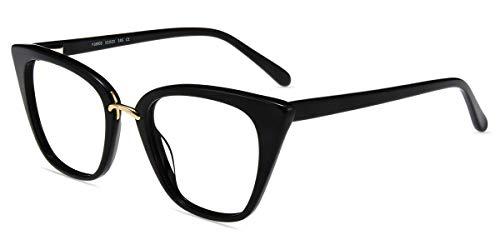 Firmoo Blaulichtfilter Brille Damen Katzenaugen Entspiegelt, Brille Ohne Sehstärke Anti Blaulicht Augenmüdigkeit, Acetate Computerbrille mit UV Schutz, Retro Cateye Brille Schwarz