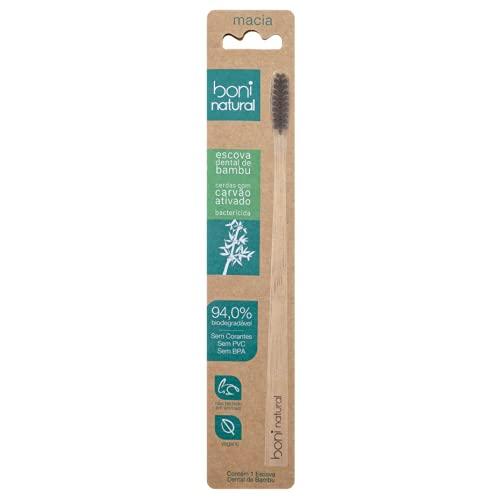 Escova de Dente de Bambu, Com cerdas vegetal de Carvão Ativo, Livre de PVC, livre BPA e livre de Corantes, Embalagem Biodegradável, Boni Natural, Marrom