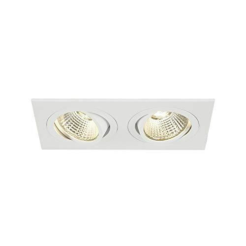 SLV LED Deckeneinbaustrahler NEW TRIA 155 I eckig, double, 3000K, CS, Clipfeder, weiß, Einbauleuchte, Deckenstrahler, schwenkbare Deckeneinbauleuchte, Indoor