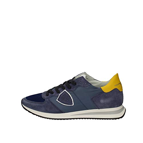 Philippe Model Herren Sneakers Paris TZLU W031 Leder Stoff Blau
