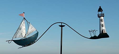 Pommerntraum ® | maritimes Windspiel Nautic | Gartenpendel | Segelschiff | Segelboot + Leuchtturm + Möwen