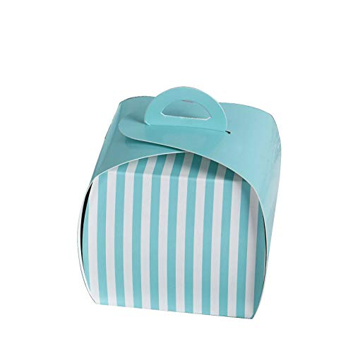 BalsaCircle 20 pcs 3.5-Inch Turquoise Wedding Stripes Cupcake Purse Favor Boxes for Wedding Party Birthday Candy Gifts Decorations