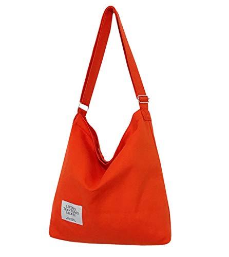 Covelin Women's Retro Large Size Canvas Shoulder Bag Hobo Crossbody Handbag Casual Tote Orange