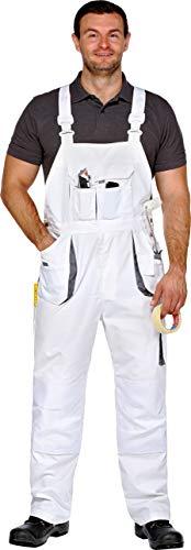Arbeitslatzhose Latzhose Maler-Latzhose Power-Worker weiß-grau Gr.42-68/25-30/90-110 (54)