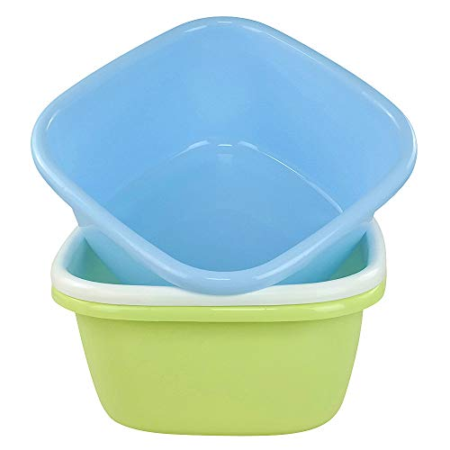Ponpong Plastic Square Light Blue Light Green White Dish Pan Tub Washing up Bowls, 16 Quart, 3 Packs