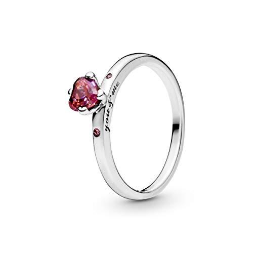 Pandora Damen Funkelndes Rotes Herz Ring Sterling Silber Cubic Zirkonia 196574CZRMX-54