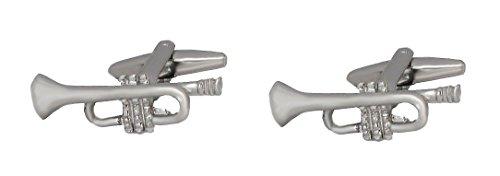 Unbekannt Manschettenknöpfe Trompete II silbern glänzend + Geschenkbox