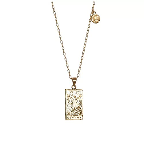 NVTHINH 2021 New Stainless Steel 12 Constellations Necklace Square Pendant Fashion Waterproof Metal 18 Gold Collar Necklace (Metal Color: Gemini)