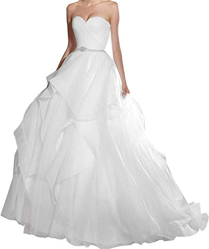 CGown Damen-Hochzeitskleid mit herzförmigem Ausschnitt, zum Schnüren, Meerjungfrauenkleid, mit Organza-Perlen Gr. 34, elfenbeinfarben