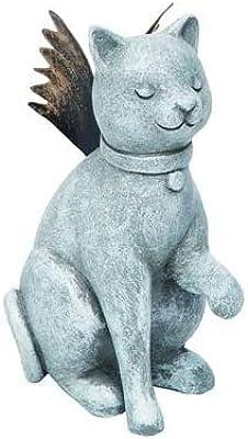 Transpac Distressed Silvertone Praying Angel Cat 3.5 x 4 Resin Decorative Tabletop Figurine
