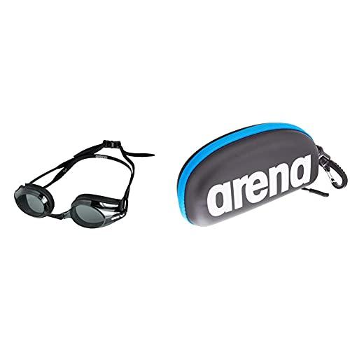 ARENA Tracks Anti-Fog Wettkampf Schwimmbrille Unisex für Erwachsene, Schwimmbrille mit UV-Schutz, 4 Austauschbare Nasenstege & Unisex Schwimmbrillenetui, Schwarz / Weiß / Royal