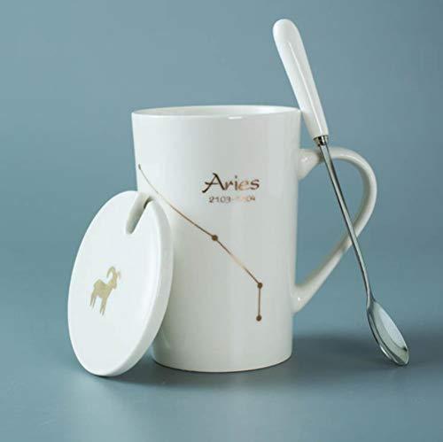 Espresso Tassen Keramikbecher 12 Sternbilder Kreative Becher Mit Löffeldeckel Schwarz Und Gold Porzellan Zodiac Milk Coffee Cup Drinkware