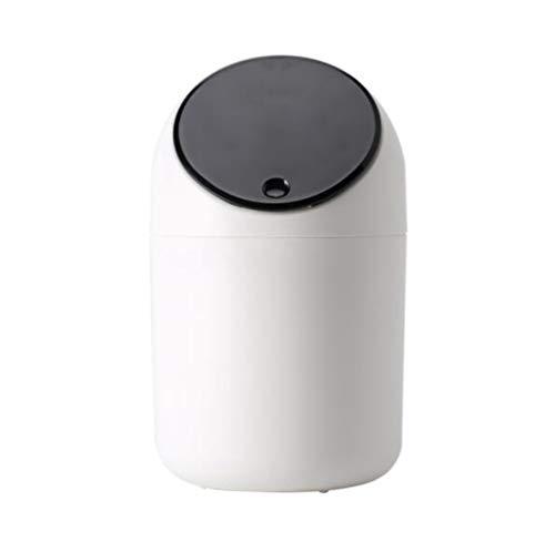 Toho - Cubo de basura de plástico pequeño con tapa a presión, basurero para reciclaje para tocador, mesita de noche, escritorio/negro