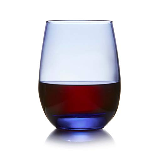 Libbey Classic Blue All-Purpose Stemless Wine Glasses, Set of 6