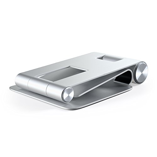 Satechi R1 Aluminum Multi-Angle Foldable Tablet Stand - Compatible with 2020/2018 iPad Pro, 2020 iPad Air, iPhone 12 Pro Max/12 Mini/12, 11 Pro Max/11 Pro, Xs Max/XS/XR/X, 8 Plus/8 (Silver) Photo #2