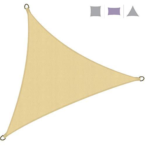 Rebecca Mobili Vela Parasole Telo Ombreggiante Triangolare Beige Polietilene Protezione Raggi Solari Giardino Campeggio 5x5x5 mt (cod. RE6341)