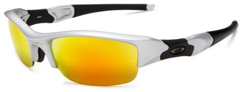 Oakley Men's OO9008 Flak Jacket Rectangular Sunglasses, Silver/Fire Orange Iridium, 63 mm