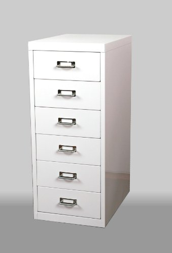 Schubladenschrank/Schubladen-Container HxBxT: 66x28x40cm mit 6 Schubladen aus Metall, weiß Marke: Szagato (Büroschrank, Werkzeugschrank, Werkstattschrank, Aufbewahrungsschrank, Schubladen-Box)