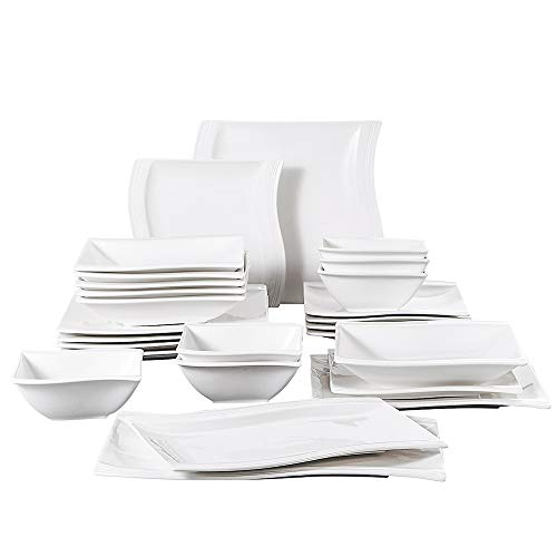 MALACASA Ivory White Porcelain Dinnerware Set, 26 Pieces Square Dinner Sets Plates and Bowls, Dish Sets with Dinner Plates, Salad Pasta Bowls and Serving Platters, Service for 6, Series Flora