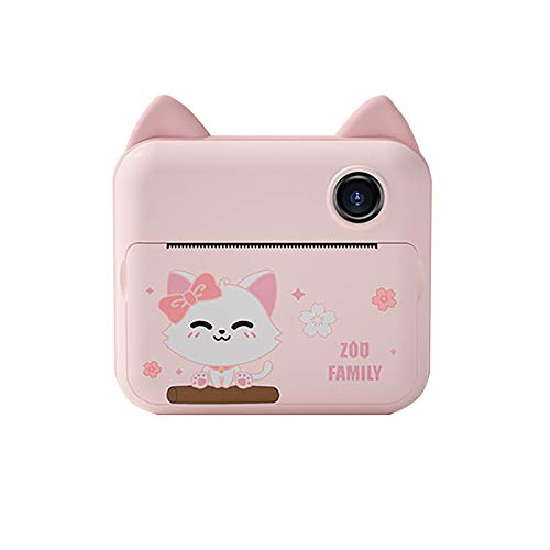Polaroid Camera,The New HD 1200W Front And Rear Dual Camera Cartoon Children's Thermal Printing Camera (Pink)