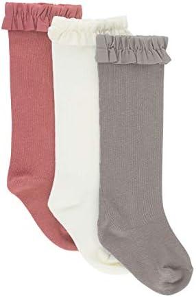 RuffleButts Girls 3 Pack Ivory Mauve Gray Knee High Socks 2T 4T product image