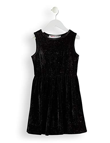 Marca Amazon - RED WAGON  Vestido Fiesta Niñas, Negro (Black), 110, Label:5 Years