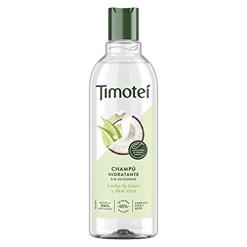 TIMOTEI Champú Hidratante para Cabello Fino y Seco Leche de Coco y Aloe Vera, con Limpiadores de Origen Vegetal, 95% de Origen Natural, Sin Siliconas 400ml