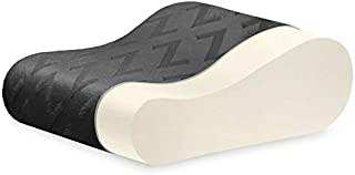 MALOUF Z Travel Size Memory Foam Molded Contour Neck Pillow-Luxurious Rayon from Bamboo Velour Washable Cover, White