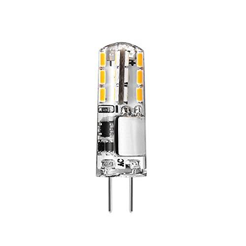 Bombillas LED G4 sin parpadeo, luz blanca cálida, 3000 K, 100 lm 1,2 W, equivalente a halógenos de 10 W, 12 V, 10 unidades