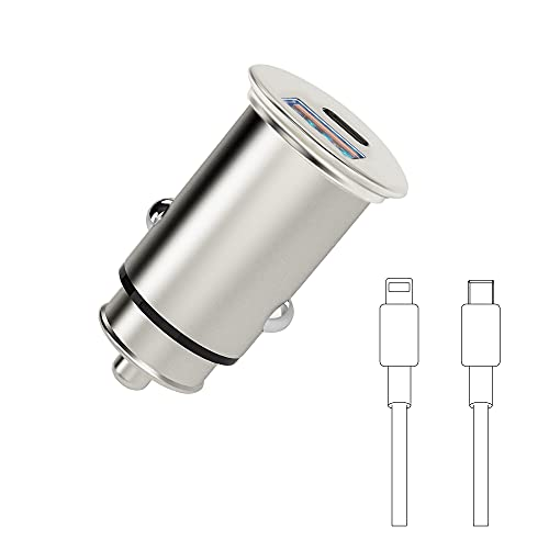 Cargador de coche USB C, adaptador de cargador de coche Super Mini 38W Carga rápida (20W PD + 18W QC 3.0) Puerto dual con cable de carga tipo C a Light-ning de 1 m para i-Phone y Android