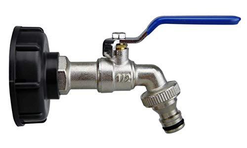 SMARDY Kugelauslaufhahn, Absperrhahn 1/2 Zoll inkl. Schlauchanschluss, Adapter für IBC-Regenwassertanks
