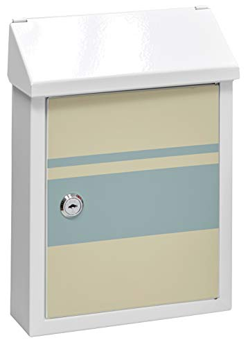 Arregui Smart Graphic E5721-STR Individueller Briefkasten aus Stahl mit dekorativem Linien, Mit Briefeingang auf der Rückseite, Größe S (DIN A5), Weiß mit Siebdruck, 30 x 21,6 x 8 cm