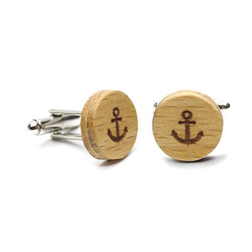Gemelos madera Anchor. Colección de moda hombre: Gemelos de madera de